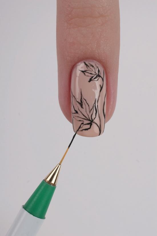 на кисточкой техника ногтях рисунки