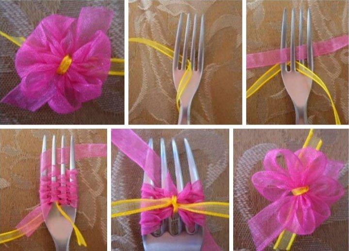 Как делать цветочки с ленточек своими руками